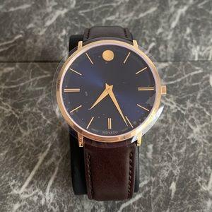 MOVADO Ultra Slim Blue Sunray Dial Men's Watch NWT